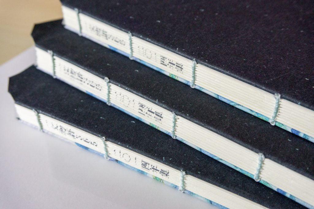 一文物語365 二〇一四年集 糸かがり手製本の背