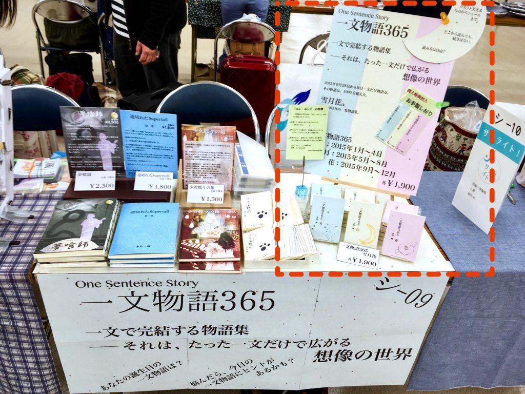 第二十二回文学フリマ東京一文物語365ブース ポイント