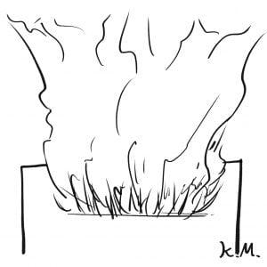 一文物語365 挿絵 ポストの口から煙