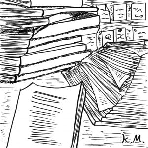 一文物語365 挿絵 書類の溜まった机
