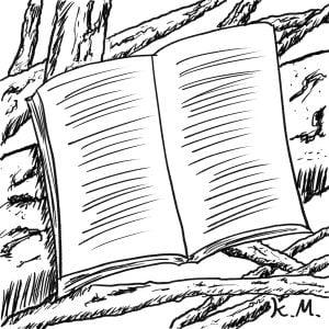 一文物語365 挿絵 木の上で読書