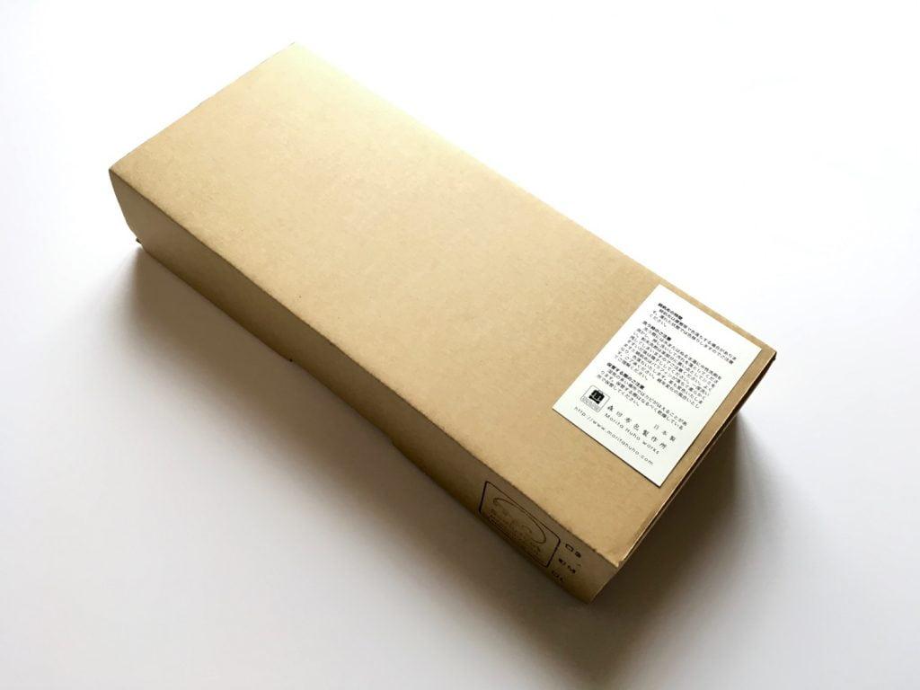 森田布包製作所の帆布を使用したスリッパの箱