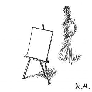 一文物語365 挿絵 イーゼルに立て掛けられたカンバス