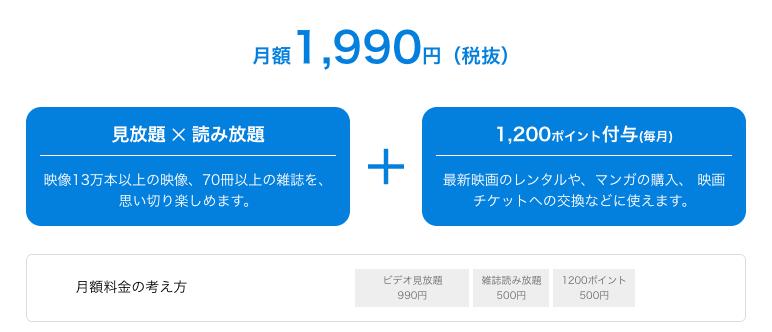 U-NEXT月額1,990円