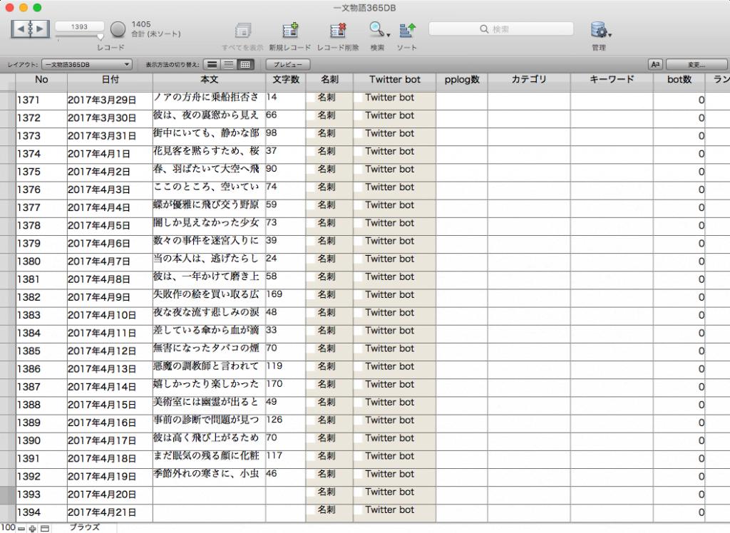FileMaker 一文物語365データベース
