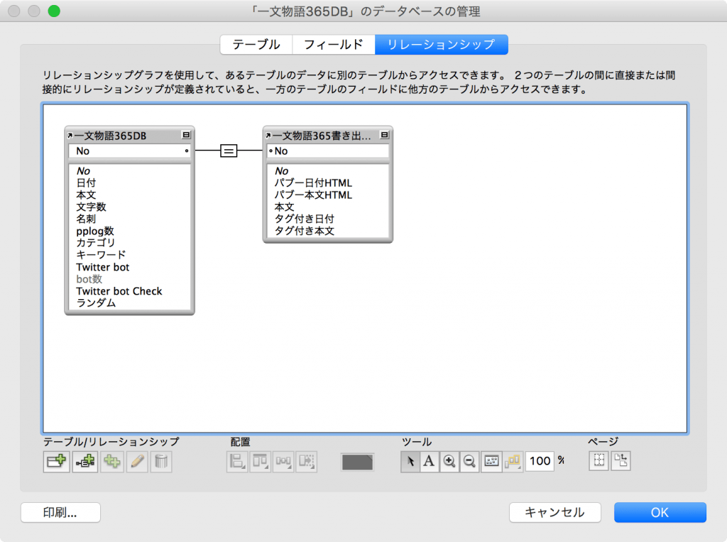 FileMakerリレーションシップ