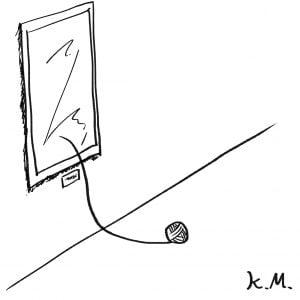 一文物語365 挿絵 飾られた絵画から落ちた毛糸玉