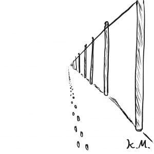 一文物語365 挿絵 電線をたどる雪の足跡
