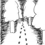 一文物語365 挿絵 山の中へ続く足跡
