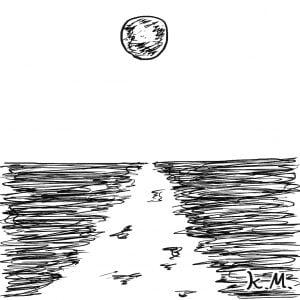 一文物語365 挿絵 海に浮かぶ月