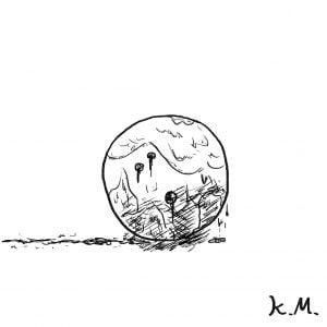一文物語365 挿絵 濡れたボーリングの玉
