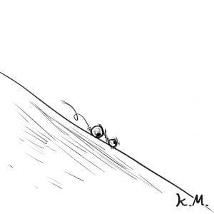 一文物語365 挿絵 坂道を転がる目玉