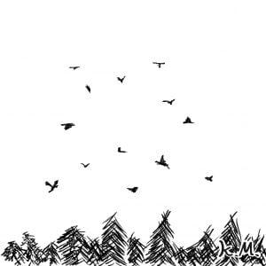 一文物語365 挿絵 カラスが舞い飛ぶ空