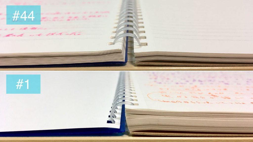 Photoshop Mixで作成した見開きノートの厚さ比較#44 の画像
