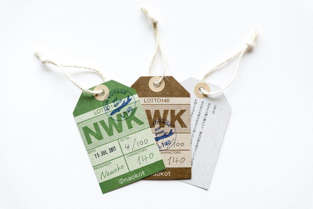 ナヲコさんの荷札140字小説活版カード