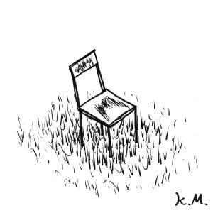 一文物語365 挿絵 草むらにある椅子
