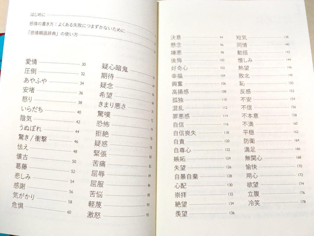感情類語辞典の目次 感情一覧