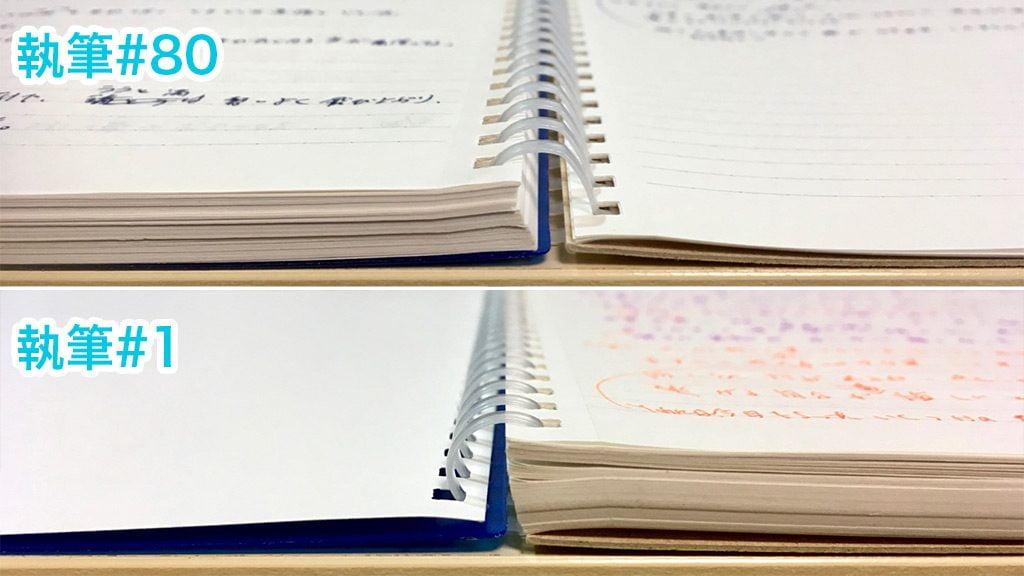 見開きノートの厚さ比較#80