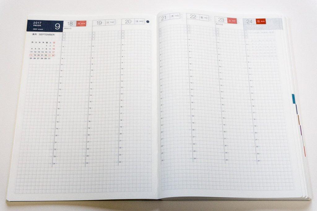 ほぼ日手帳2017 カズン avec 後期 Weeklyページ