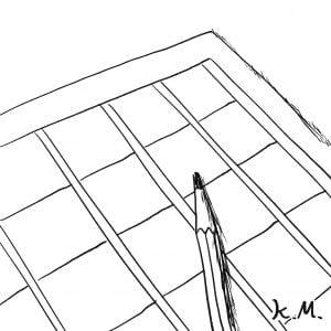 一文物語365 挿絵 白紙の原稿用紙と鉛筆