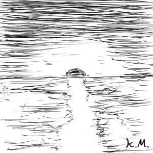 一文物語365 挿絵 海に沈む夕日