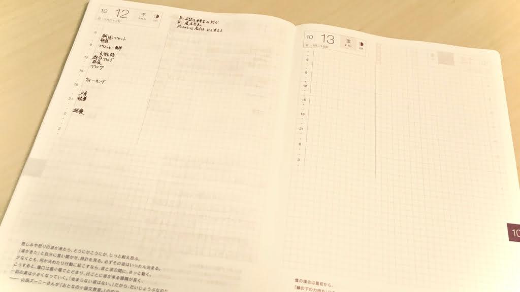 ほぼ日手帳のデイリーページ
