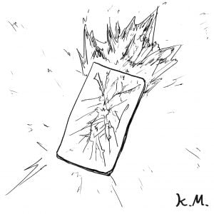一文物語365 挿絵 炎をあげる携帯電話