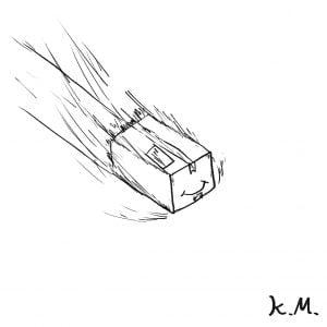 一文物語365 挿絵 猛スピードで滑る箱