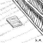 一文物語365の挿絵:本棚から落ちた本