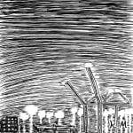 一文物語365の挿絵:夜の海沿いの工場