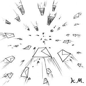 一文物語365の挿絵:飛び進む手紙