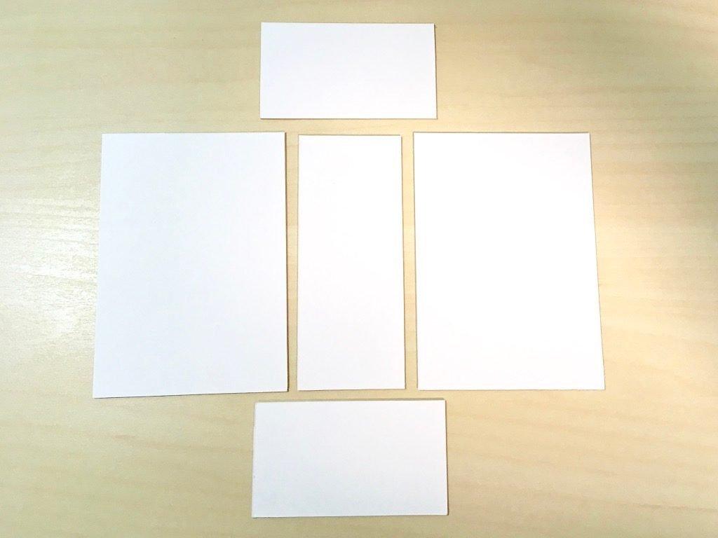 糸かがり手製本はん・ぶんこ3冊収納BOXの材料厚紙切り出し