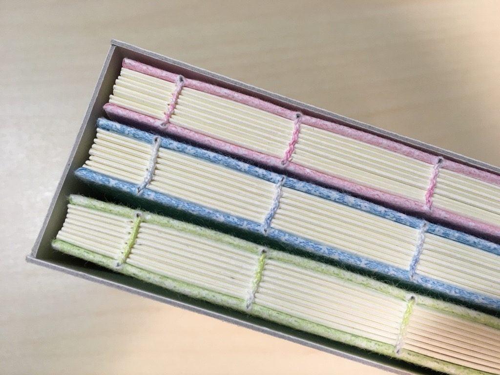 糸かがり手製本はん・ぶんこ3冊収納BOXの収納イメージ