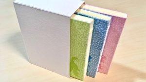 糸かがり手製本はん・ぶんこが3冊入る箱作り。サイズを大きくした試作二つ目を制作!