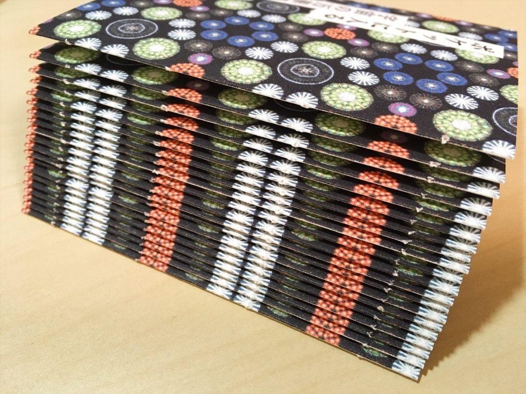 新作一文物語手製本「ポケットに入る宇宙の万華鏡 中」の表紙の背にすべてに穴が空いたところ