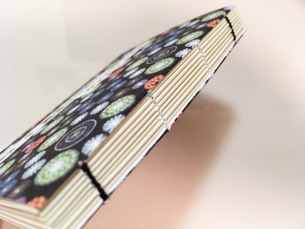 新作一文物語手製本「ポケットに入る宇宙の万華鏡 中」の完成背表紙