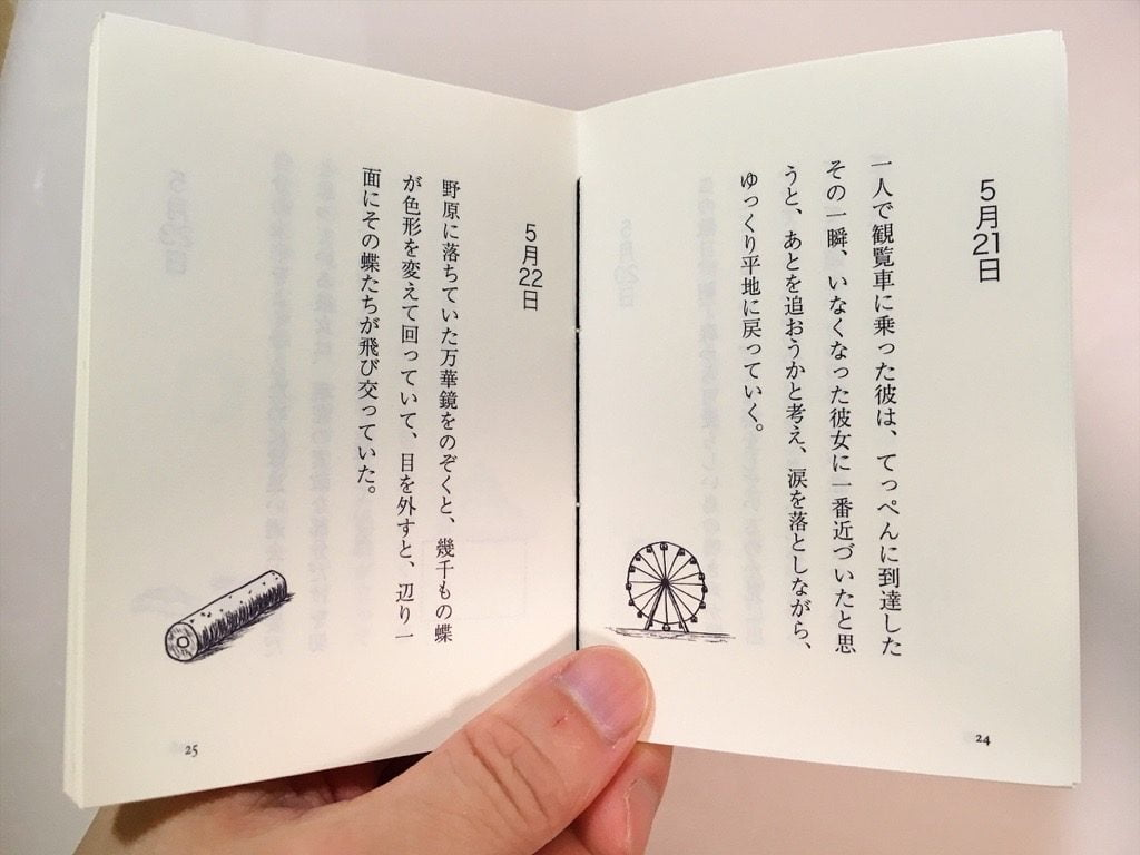 新作一文物語手製本「ポケットに入る宇宙の万華鏡 中」の本文見開いて持っているところ
