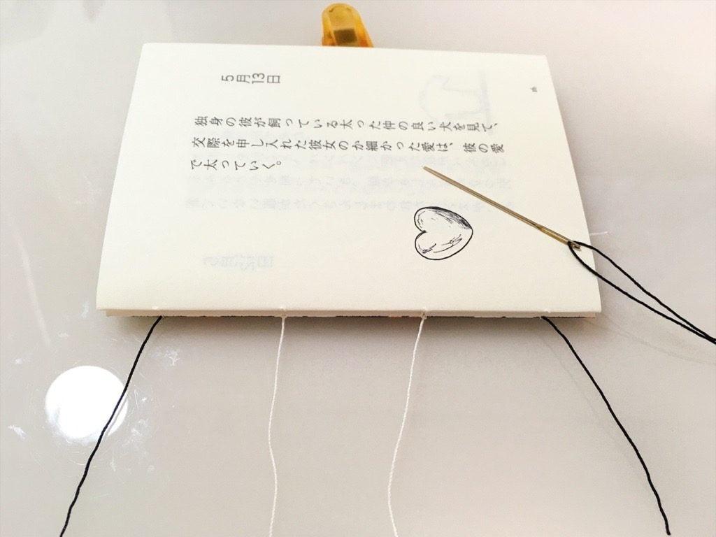 新作一文物語手製本「ポケットに入る宇宙の万華鏡 中」の表紙と本文一折り目の糸かがり