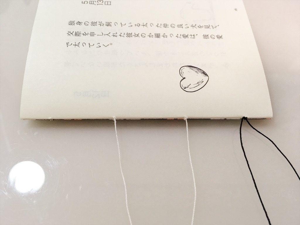 新作一文物語手製本「ポケットに入る宇宙の万華鏡 中」の表紙と本文一折り目の糸かがりが終わったところ