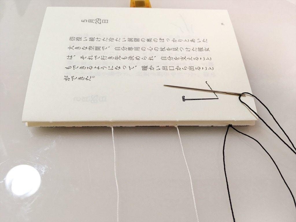 新作一文物語手製本「ポケットに入る宇宙の万華鏡 中」の表紙と本文二折り目の糸かがり