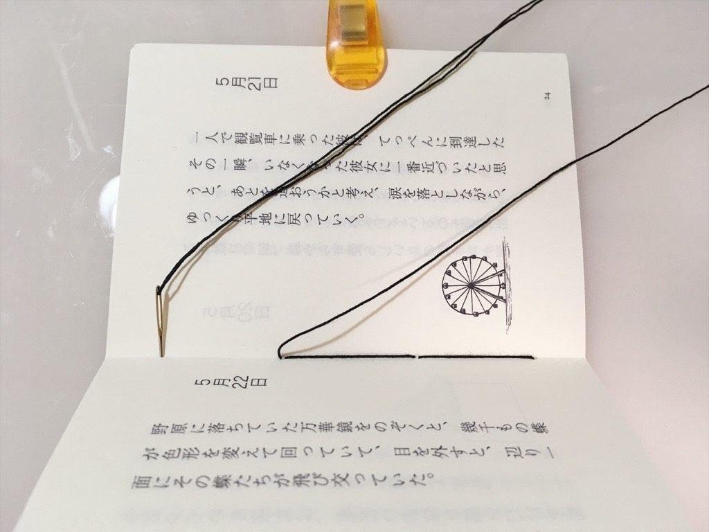 新作一文物語手製本「ポケットに入る宇宙の万華鏡 中」の表紙と本文二折り目の糸かがり途中