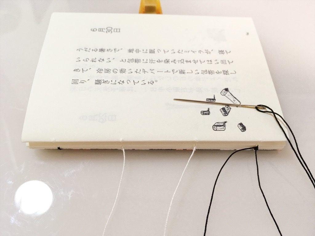新作一文物語手製本「ポケットに入る宇宙の万華鏡 中」の表紙と本文四折り目の糸かがり途中