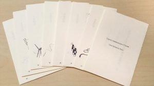新作一文物語手製本「ポケットに入る宇宙の万華鏡 中」本文用紙を切って、折って、穴あけしました!