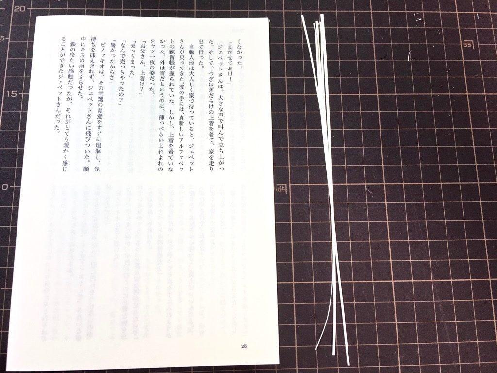 Pinocchio展に出展する小説手製本の本文用紙の小口をカット