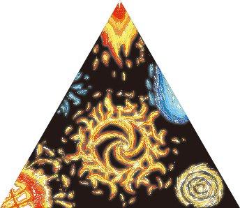 一文物語手製本「ポケットに入る宇宙の万華鏡 下」の表紙の万華鏡モチーフ