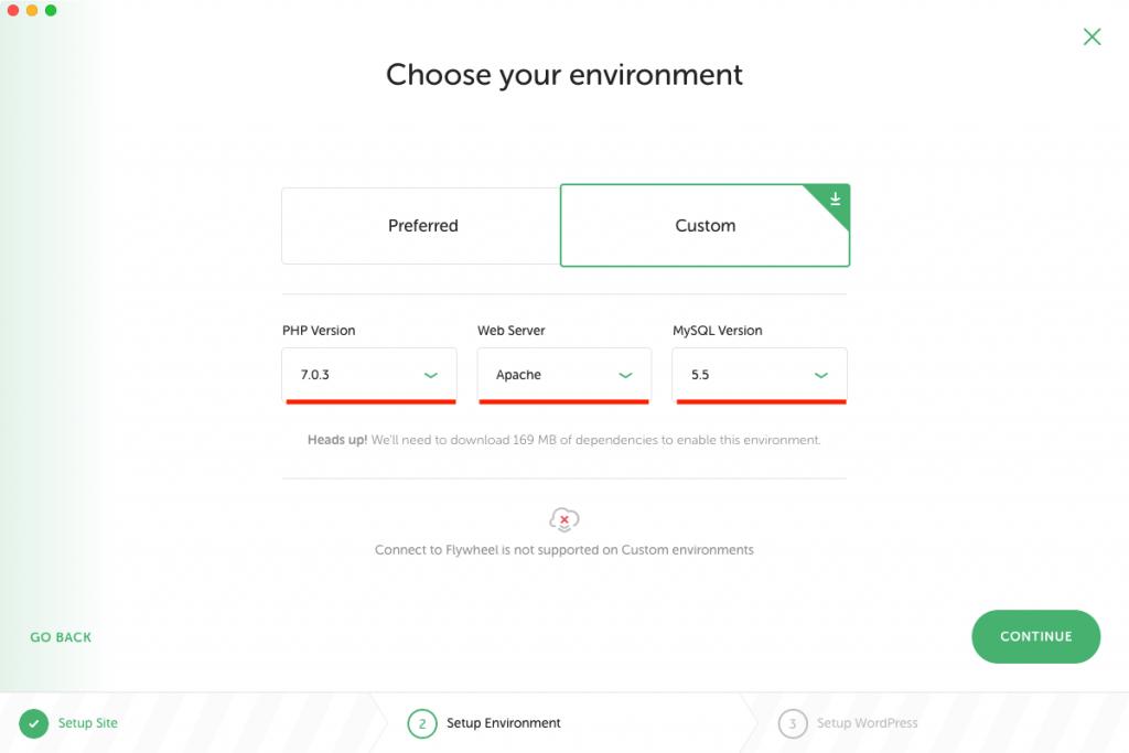 Localの新しいサイトのカスタム環境設定画面