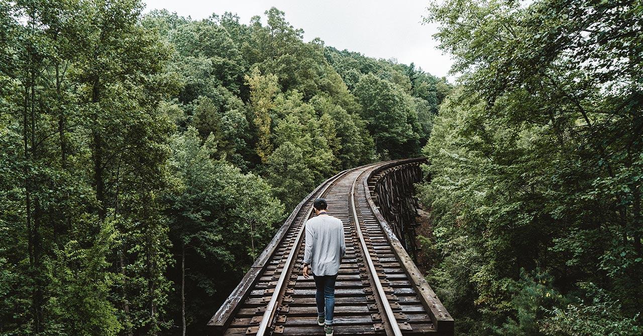 森の中を分かつ線路を歩く
