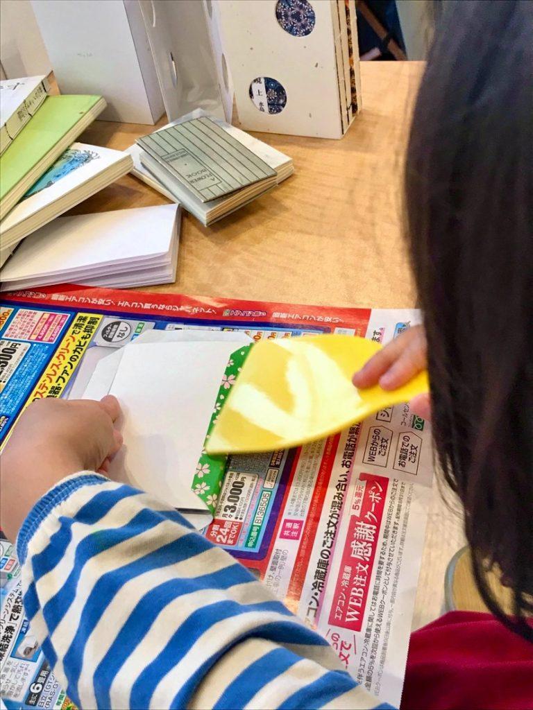 手製本ワークショップ表紙に厚紙を貼りつけているところ