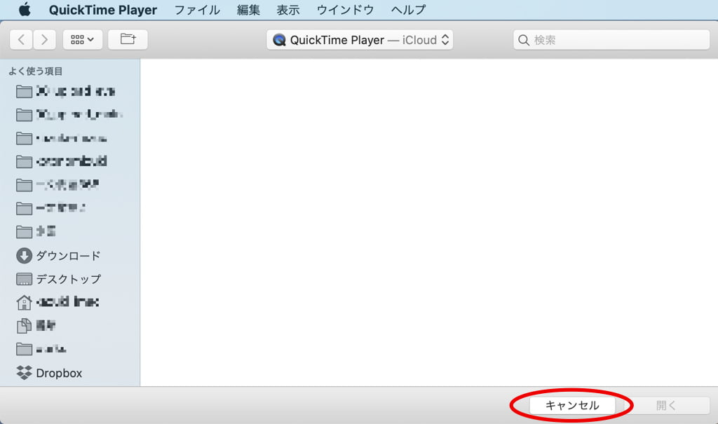 QuickTime Playerでファイルを開く画面
