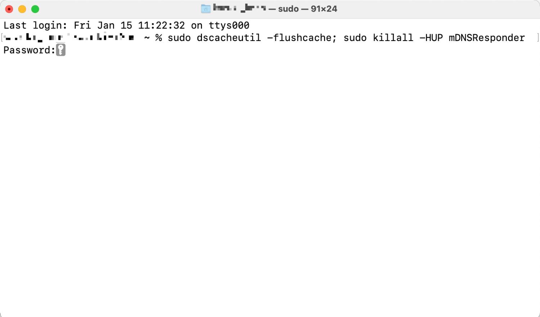 Macのターミナル画面